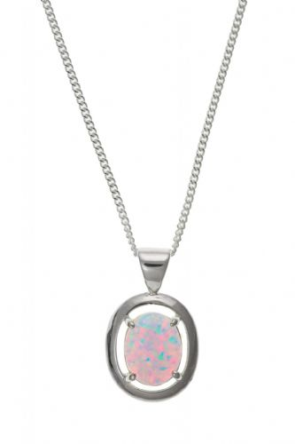 Sterling Silver Oval Opal Necklace